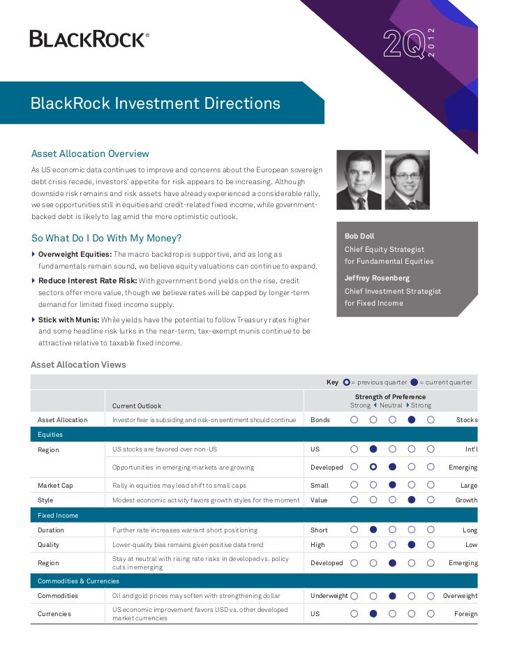 2 0 12BlackRock Investment DirectionsAsset Allocation OverviewAs US economic data continues to improve and concerns about ...