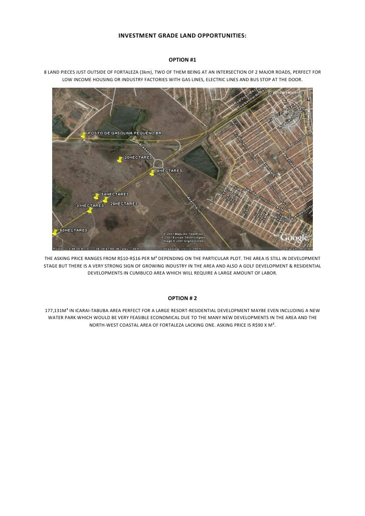 INVESTMENT GRADE LAND OPPORTUNITIES:                                                     OPTION #1 8 LAND PIECES JUST OUTS...