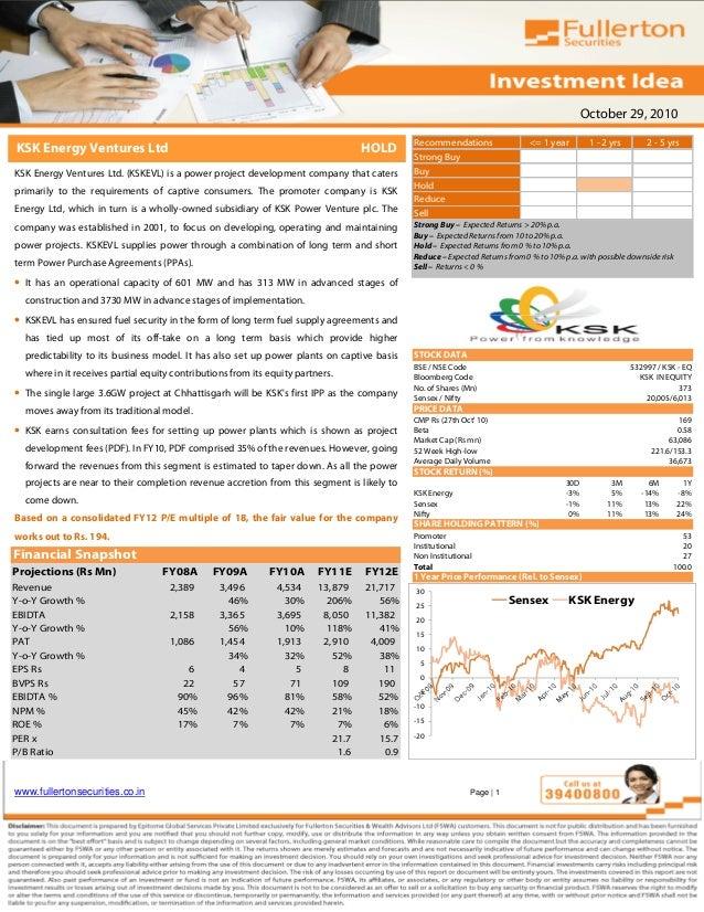 October 29, 2010 www.fullertonsecurities.co.in Page | 1 KSK Energy Ventures Ltd HOLD KSK Energy Ventures Ltd. (KSKEVL) is ...