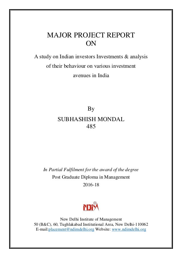 various investment avenues in india pdf to word