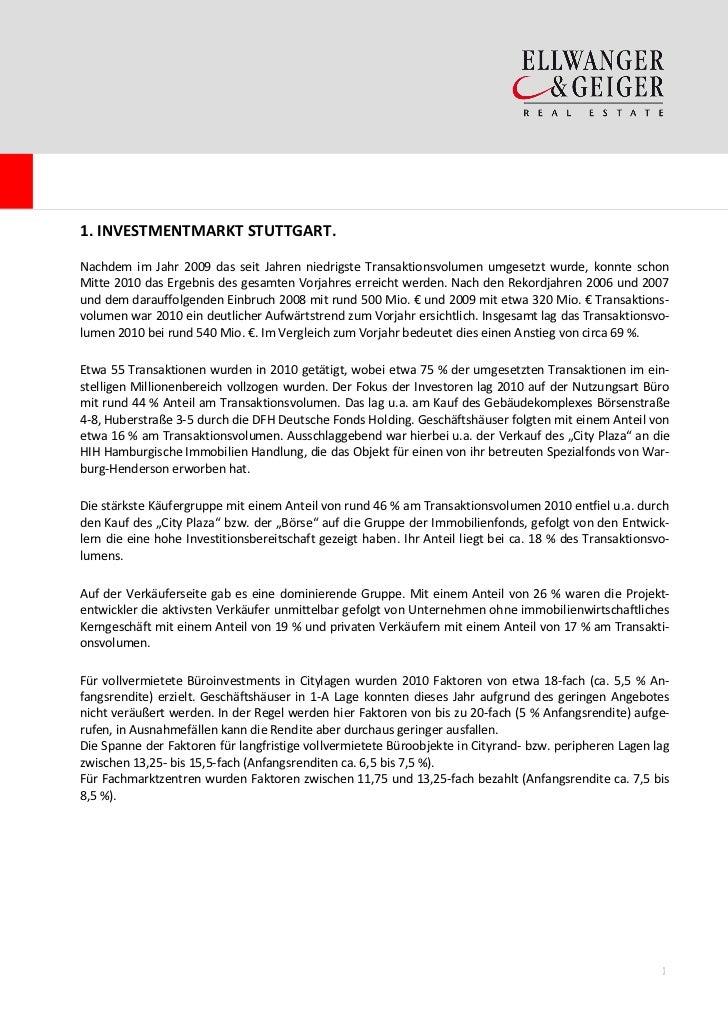Der Investmentmarkt Stuttgart 2010 / 2011 Slide 3