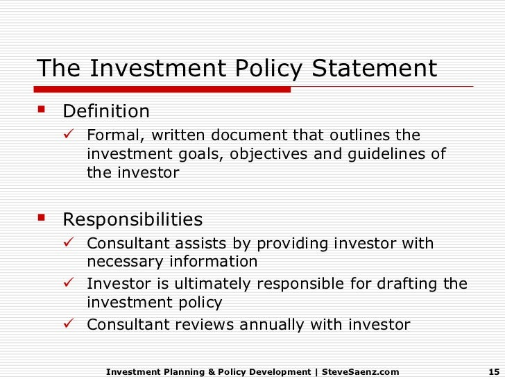 Investment Planning  Policy Development