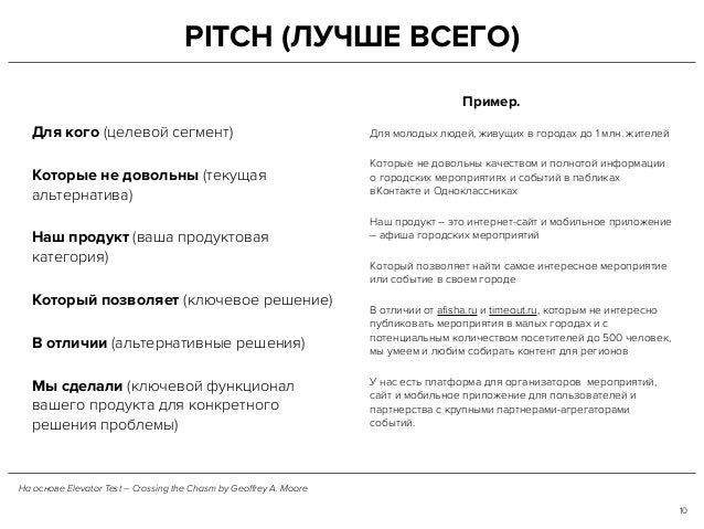 PITCH (ЛУЧШЕ ВСЕГО) Для кого (целевой сегмент) Которые не довольны (текущая альтернатива) Наш продукт (ваша продуктовая ка...