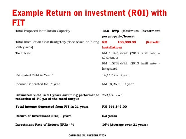 ... WEBSITE COMMERCIAL PRESENTATION; 7. Example Return On Investment ...