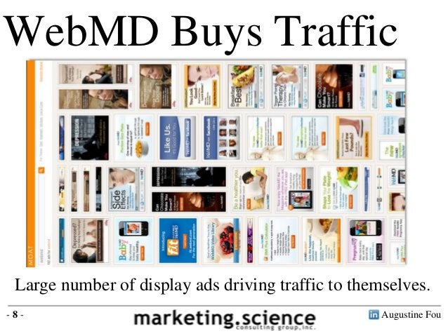 Augustine Fou- 8 -WebMD Buys TrafficLarge number of display ads driving traffic to themselves.
