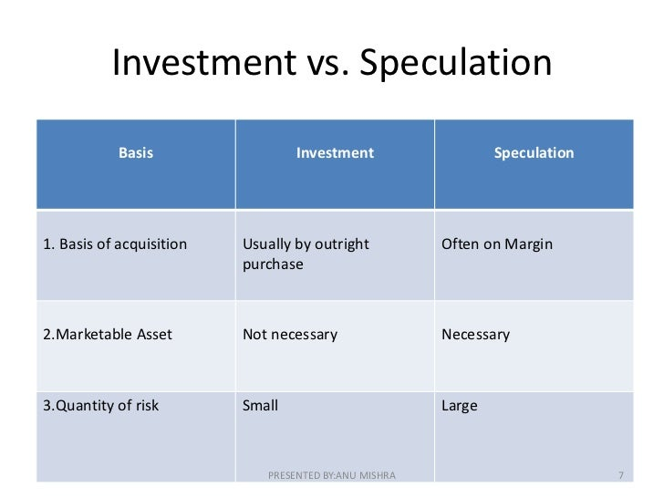 how investment is different from speculation and gambling anonymous
