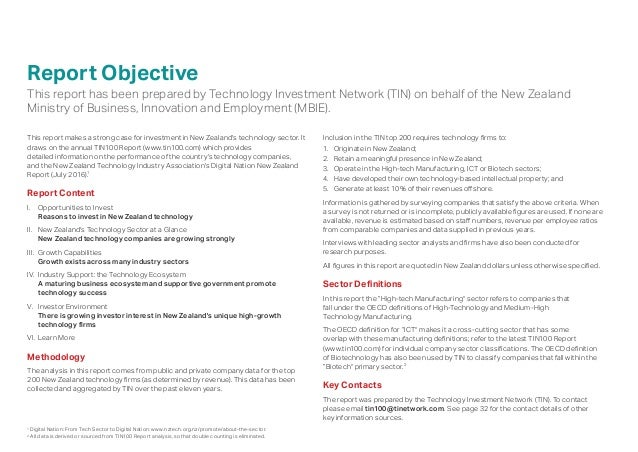 Report Objective This report has been prepared by Technology Investment Network (TIN) on behalf of the New Zealand Ministr...