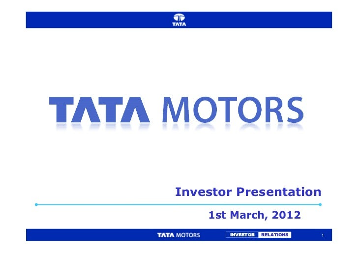 Investor Presentation    1st March, 2012       INVESTOR   RELATIONS   1