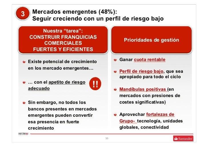 """3    Mercados emergentes (48%):     Seguir creciendo con un perfil de riesgo bajo        Nuestra """"tarea"""":    CONSTRUIR FRA..."""