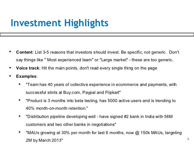 Investment Highlights   Content: List 3-5 reasons that investors should invest. Be specific, not generic. Dont    say thi...