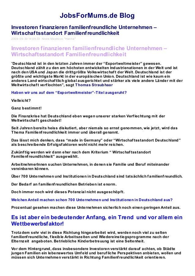 JobsForMums.de Blog Investoren finanzieren familienfreundliche Unternehmen – Wirtschaftsstandort Familienfreundlichkeit 20...