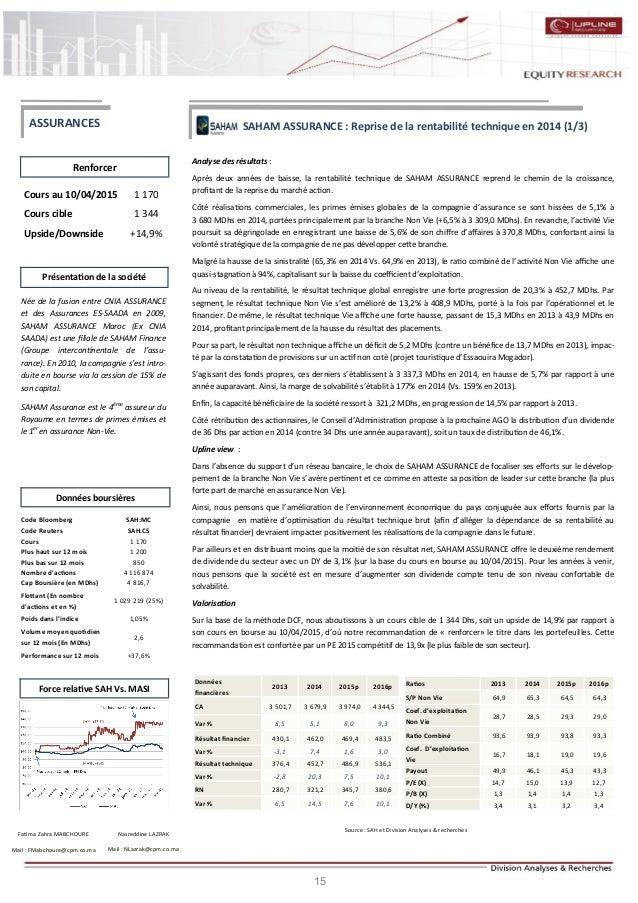 15 SAHAM ASSURANCE : Reprise de la rentabilité technique en 2014 (1/3) Analyse des résultats : Après deux années de baisse...