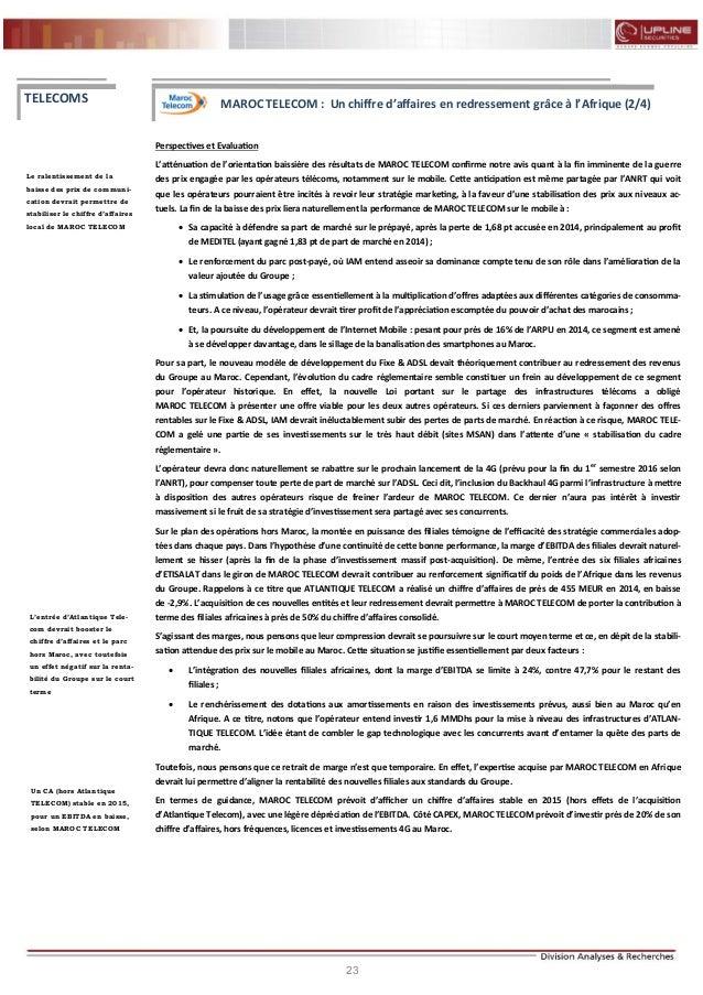 23 FLASH RESULTATS S1-2012 Perspectives et Evaluation L'atténuation de l'orientation baissière des résultats de MAROC TELE...