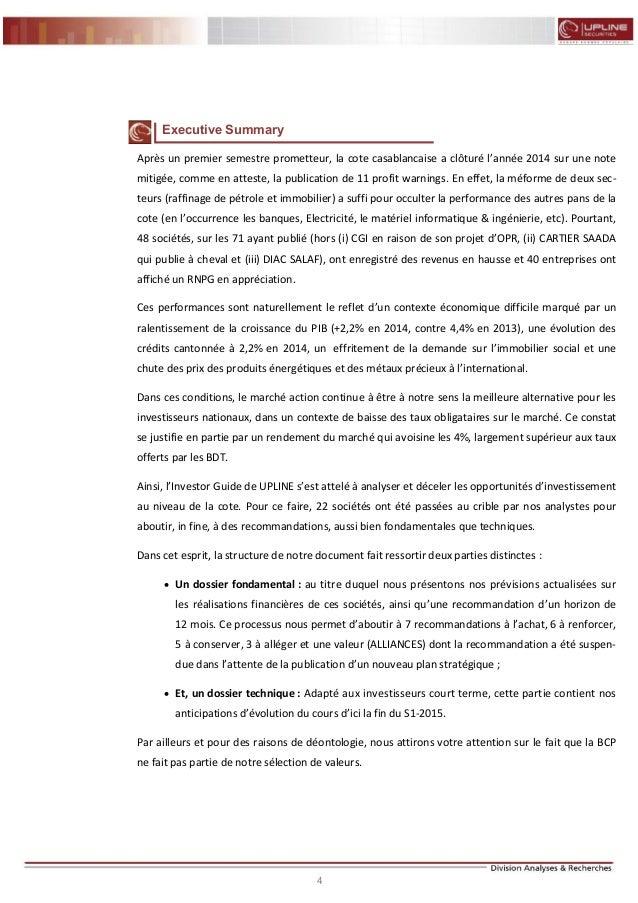 4 FLASH RESULTATS S1-2012 Executive Summary Après un premier semestre prometteur, la cote casablancaise a clôturé l'année ...