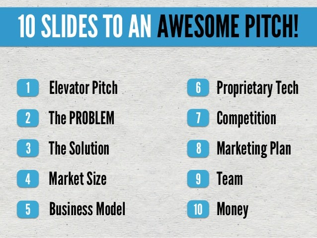 Elevator Pitch1 The PROBLEM2 The Solution3 Market Size4 Business Model5 6 7 8 9 10 10 SLIDES TO AN AWESOME PITCH! Propriet...