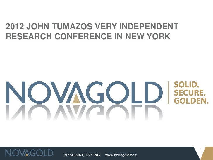 2012 JOHN TUMAZOS VERY INDEPENDENTRESEARCH CONFERENCE IN NEW YORK                                                  1      ...