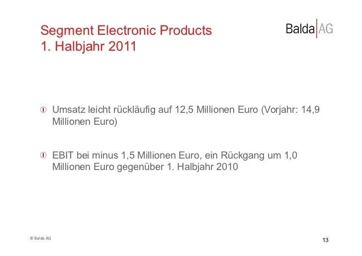 Segment Electronic Products         1. Halbjahr 2011         !  Umsatz leicht rückläufig auf 12,5 Millionen Euro (Vorjahr...