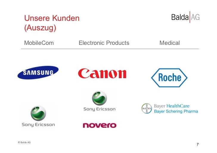 Unsere Kunden         (Auszug)         MobileCom     Electronic Products   Medical© Balda AG                        ...