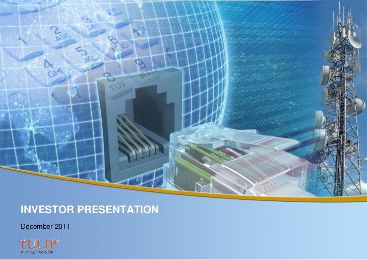 INVESTOR PRESENTATIONDecember 2011