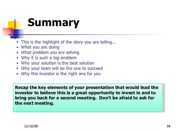 Investor Presentation Template .  Event Summary Report Template