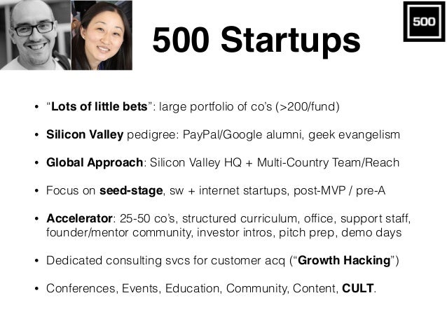 """500 Startups • """"Lots of little bets"""": large portfolio of co's (>200/fund) • Silicon Valley pedigree: PayPal/Google alumni,..."""