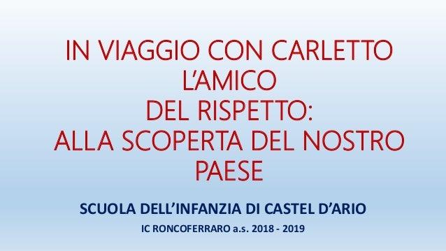 IN VIAGGIO CON CARLETTO L'AMICO DEL RISPETTO: ALLA SCOPERTA DEL NOSTRO PAESE SCUOLA DELL'INFANZIA DI CASTEL D'ARIO IC RONC...