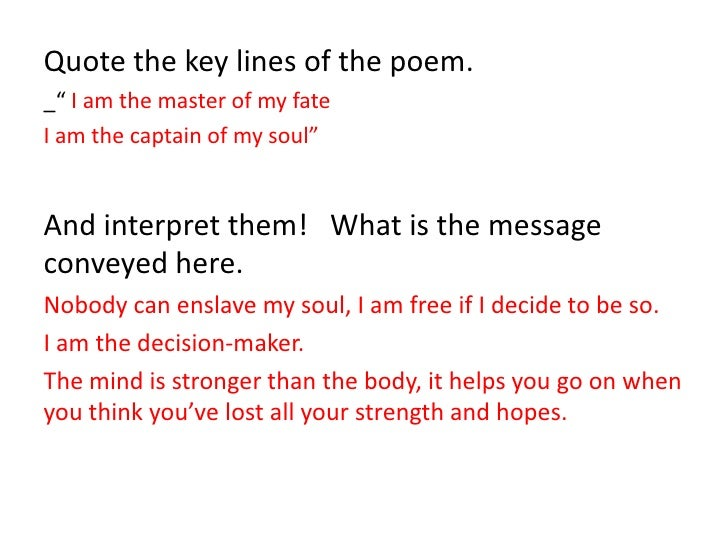 invictus essay An analysis of invictus by william ernest henley invictus by william ernest henley is a short poem at only 16 lines long it has a rhyme scheme of.