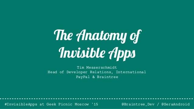 Tim Messerschmidt Head of Developer Relations, International PayPal & Braintree @Braintree_Dev / @SeraAndroid The Anatomy ...