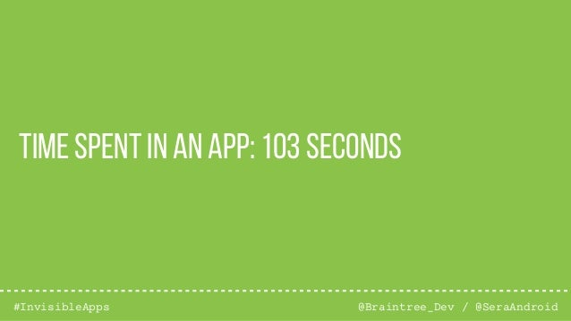 @Braintree_Dev / @SeraAndroid#InvisibleApps Time spent in an app: 103 seconds