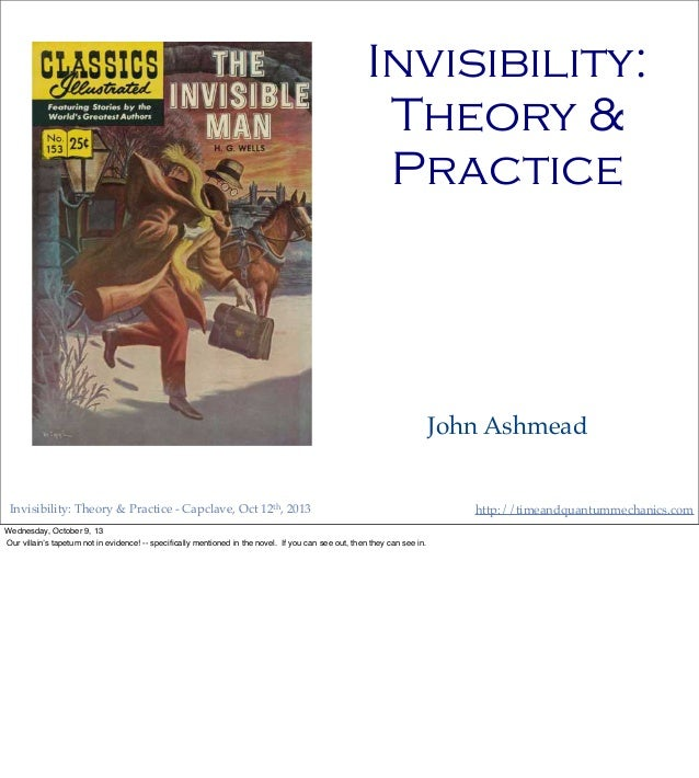 http://timeandquantummechanics.comInvisibility: Theory & Practice - Capclave, Oct 12th, 2013 Invisibility: Theory & Practi...