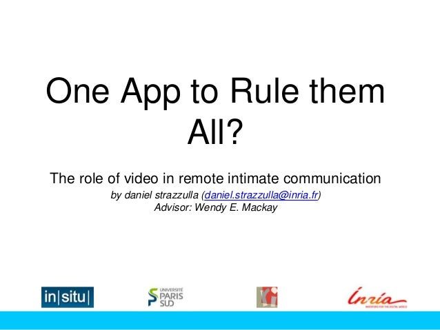 One App to Rule them All? The role of video in remote intimate communication by daniel strazzulla (daniel.strazzulla@inria...