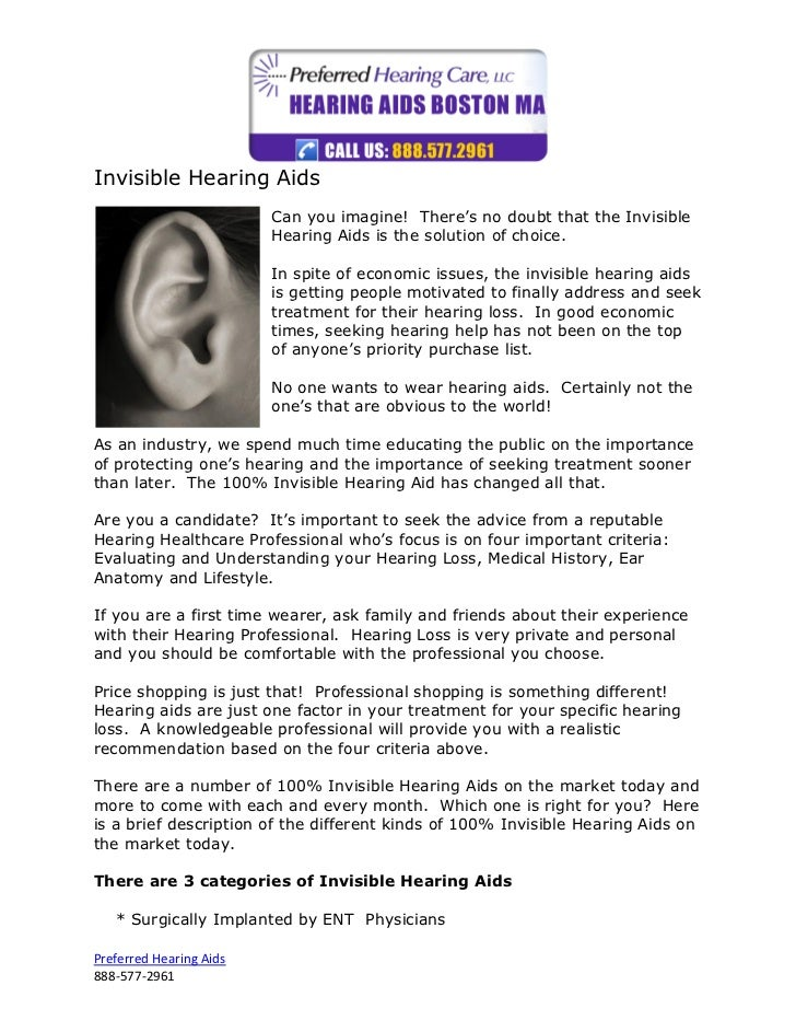 Invisible Hearing Aids                         Can you imagine! There's no doubt that the Invisible                       ...