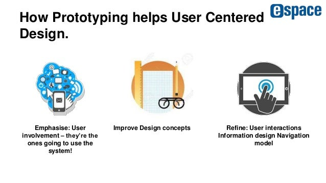 How Prototyping helps User Centered Design. Emphasise: User involvement – they're the ones going to use the system! Improv...