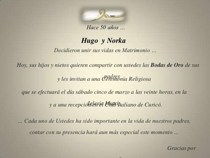 Frases De Aniversario En Espanol: Invitación Bodas De Oro