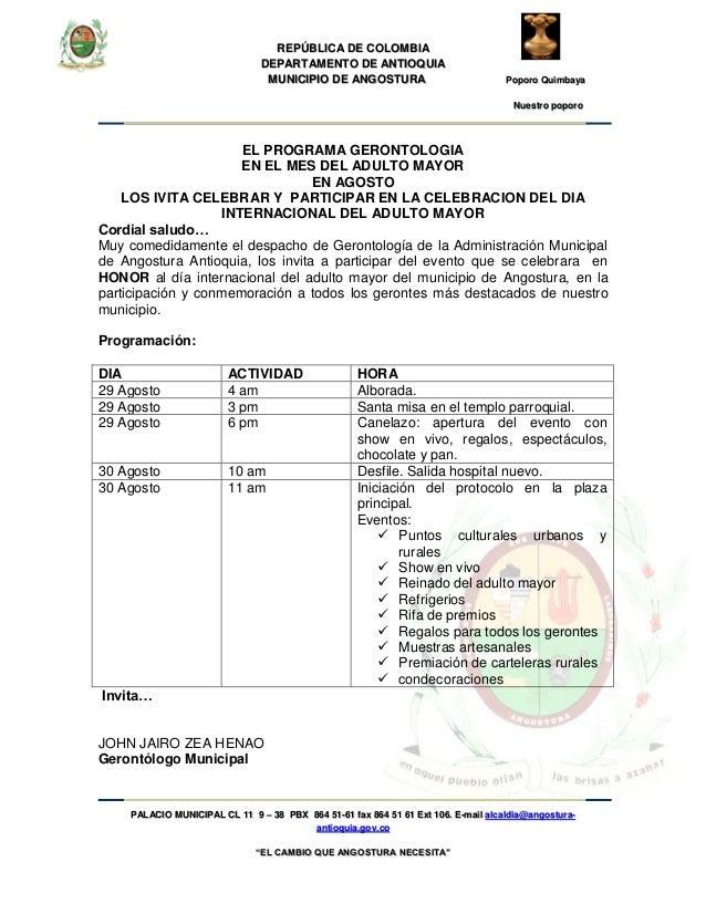 REPÚBLICA DE COLOMBIA DEPARTAMENTO DE ANTIOQUIA MUNICIPIO DE ANGOSTURA Poporo Quimbaya Nuestro poporo PALACIO MUNICIPAL CL...