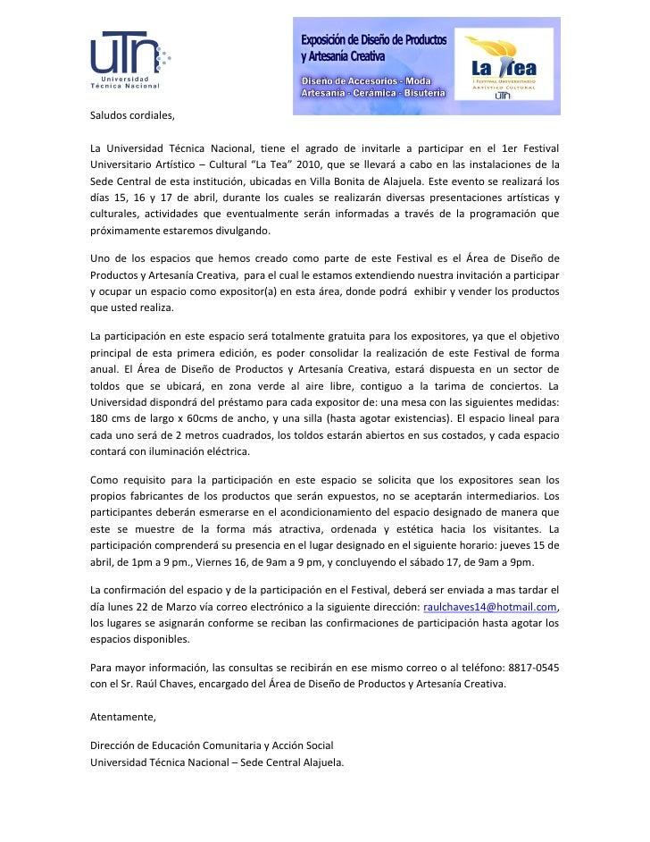 Saludos cordiales,  La Universidad Técnica Nacional, tiene el agrado de invitarle a participar en el 1er Festival Universi...