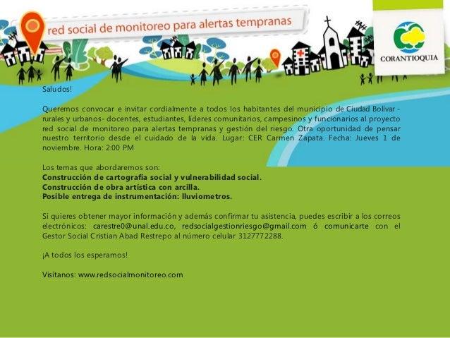 ¡Saludos!Queremos convocar e invitar cordialmente a todos los habitantes del municipio de Ciudad Bolívar -rurales y urbano...