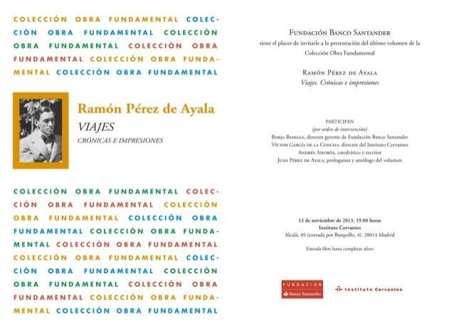 Invitación presentación de 'Viajes. Crónicas e impresiones' de Ramón Pérez de Ayala
