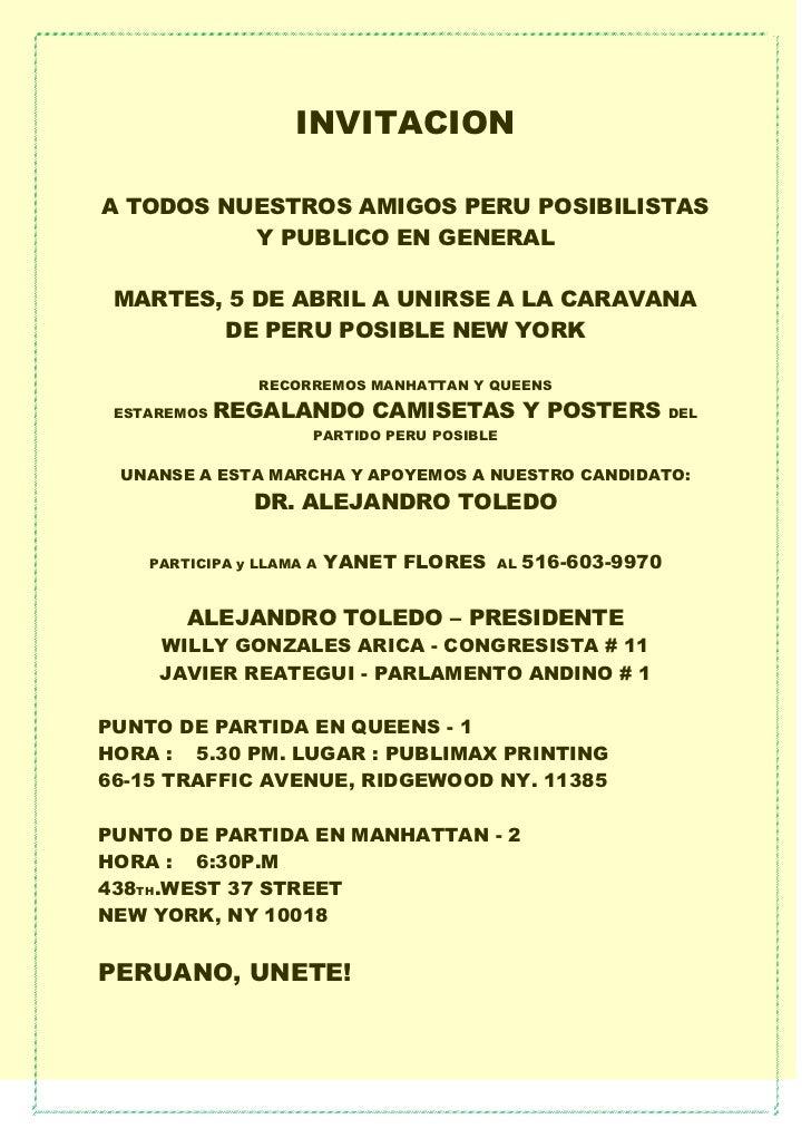 INVITACIONA TODOS NUESTROS AMIGOS PERU POSIBILISTAS          Y PUBLICO EN GENERAL MARTES, 5 DE ABRIL A UNIRSE A LA CARAVAN...