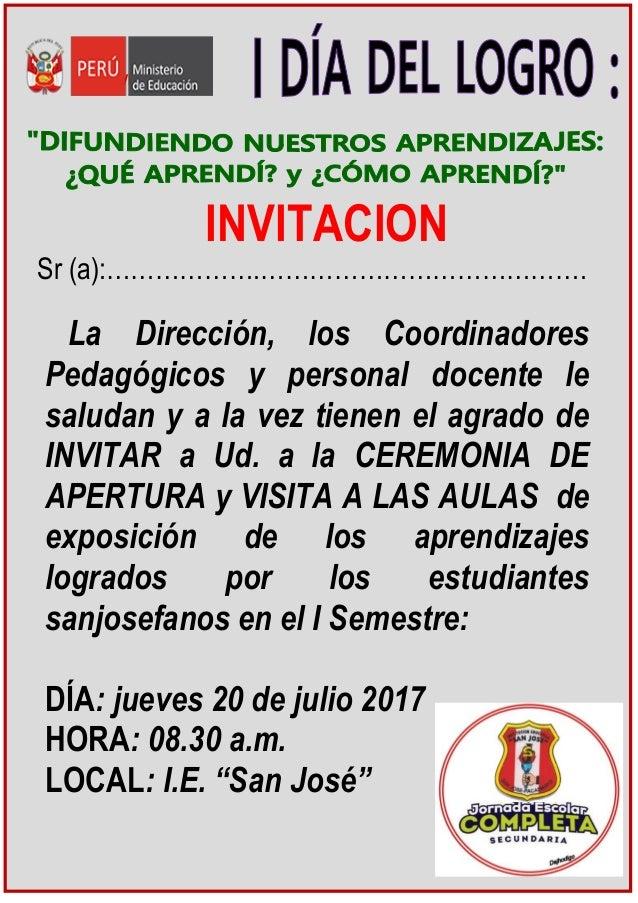 Invitacion Corta Para Padres De Familia Julio 2017