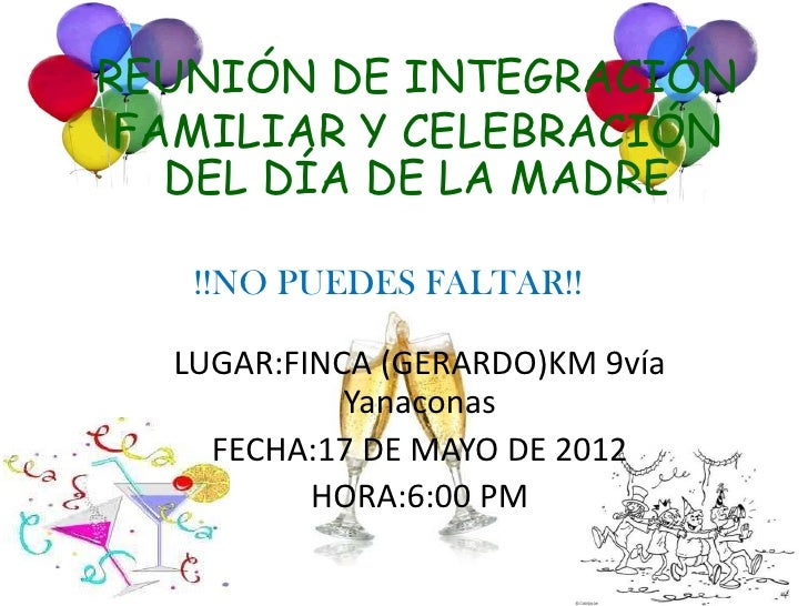 Invitacion De Integracion Familia