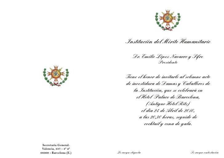 Institución del Mérito Humanitario                                      Dr. Emilio López Navarro y Sifre                  ...