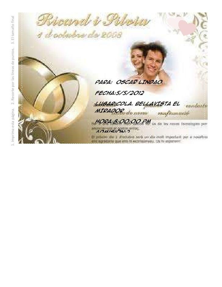 invitaciones de boda lucy 1 imprima esta pgina 2 recorte por las lneas de puntos