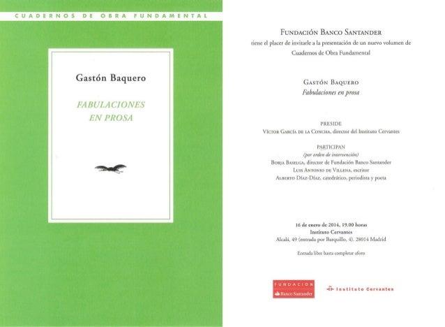 Invitación a la presentación 'Fabulaciones en prosa' de Gastón Baquero