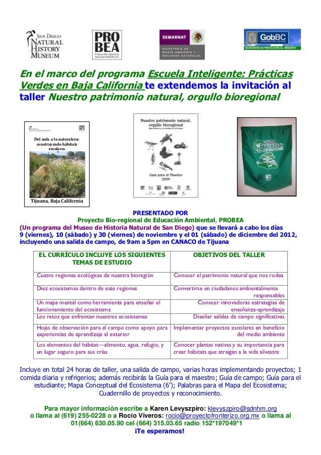 En el marco del programa Escuela Inteligente: PrácticasVerdes en Baja California te extendemos la invitación altaller Nues...