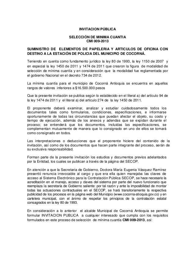 INVITACION PÚBLICA                            SELECCIÓN DE MINIMA CUANTIA                                    CMI 009-2013S...