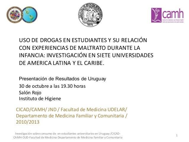 USO DE DROGAS EN ESTUDIANTES Y SU RELACIÓN CON EXPERIENCIAS DE MALTRATO DURANTE LA INFANCIA: INVESTIGACIÓN EN SIETE UNIVER...