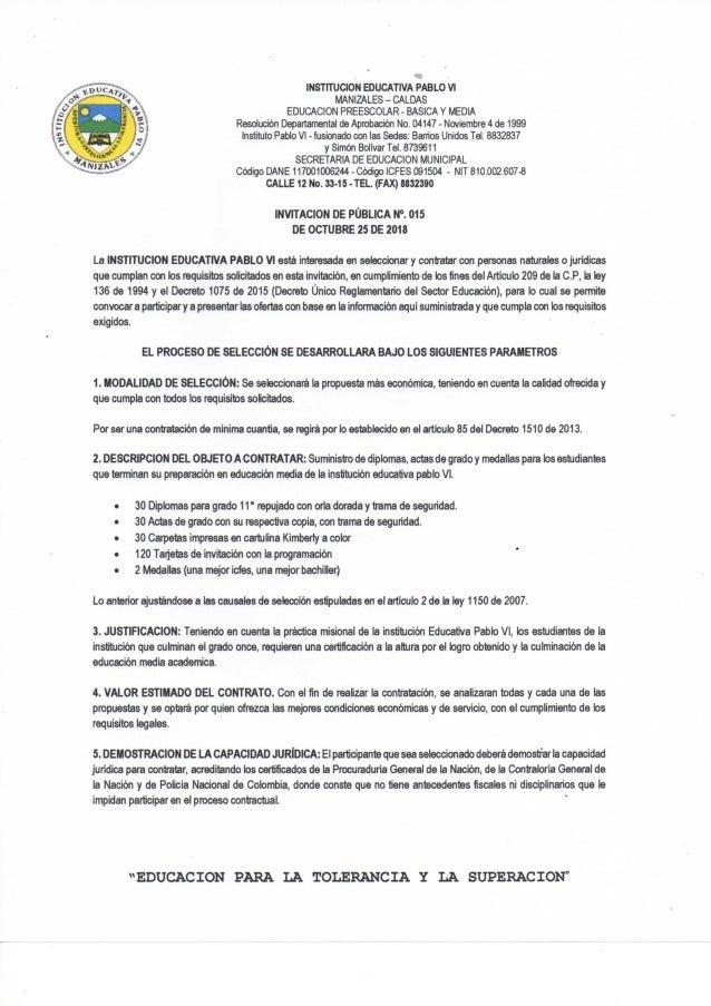 Invitacion Publica 015
