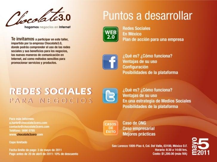 Invitacion Taller: Redes Sociales para Negocios