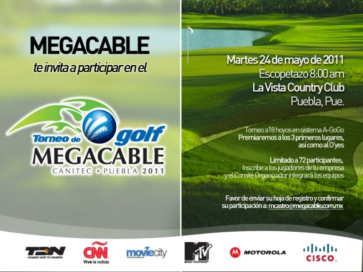 Invitación torneo de Golf Expo Canitec-Megacable